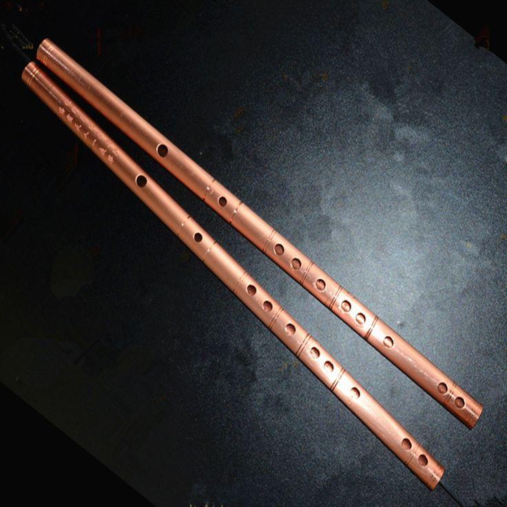 Chinese Flute Red Copper Metal Flute Dizi C  DE F G KEY Metal Flauta Transverse Flute Musical Instruments Self-defense Weapon