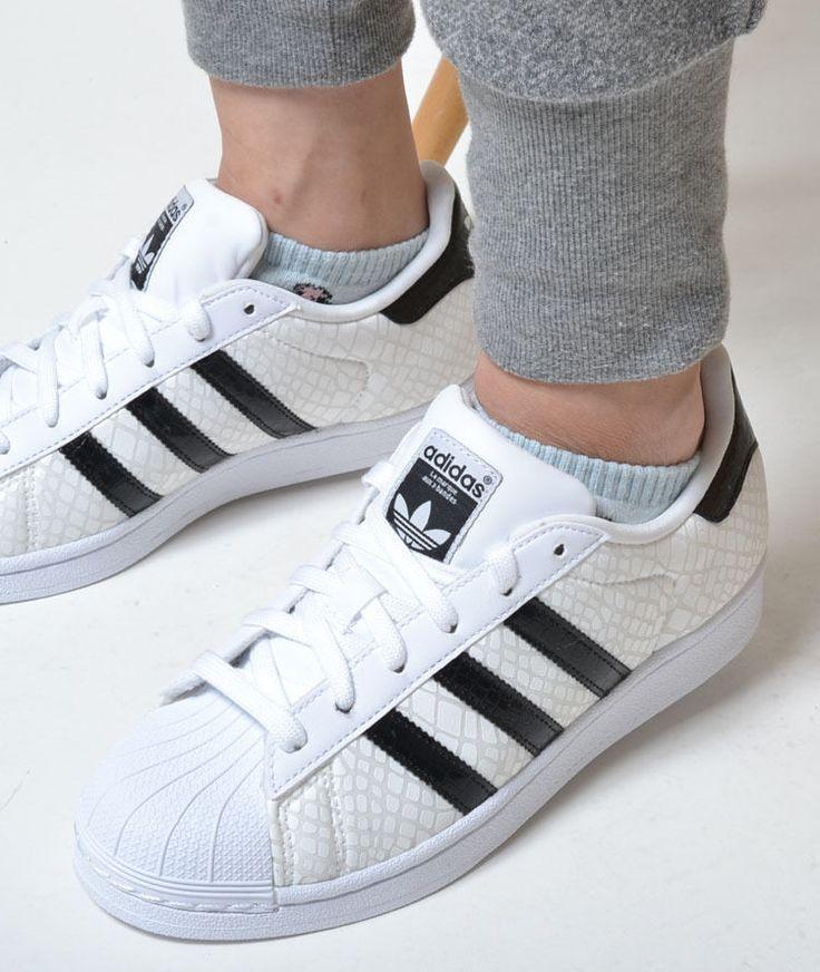 Adidas Originals Superstar Classic Sneakers New White / Black Snakeskin d70171