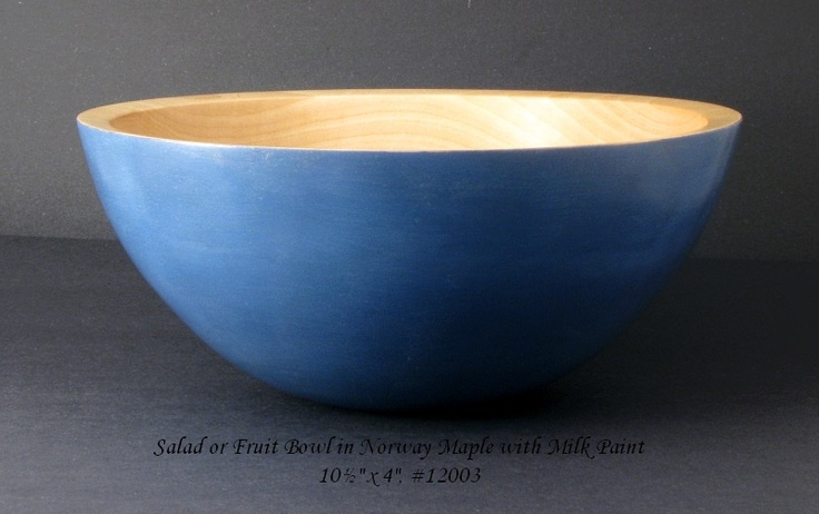 """Maple salad bowl with milk paint.  This one measures 10½"""" x 4"""""""