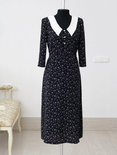 белорусская одежда, платье с белым воротничком, купить платье в минске, купить платье белорусских дизайнеров, 40s dress, 40s fashion, atelier altanova, пошив одежды минск, платье в мелкие цветы, платье в цветы на черном фоне, красивые платья минск купить, цветочный принт платья, модное платье купить, стильное платье купить, женственное платье купить минск, платье миди