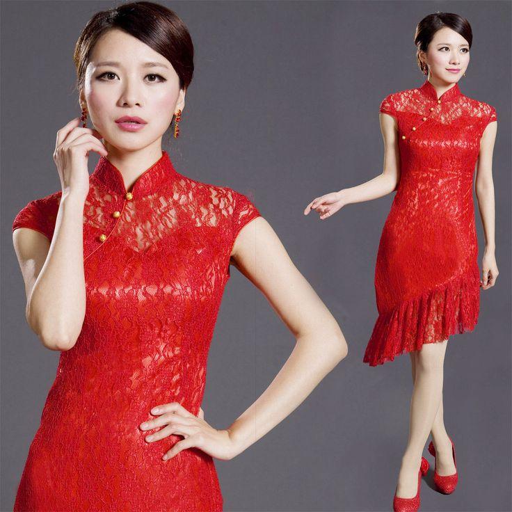 Winsome Modern Red Lace Qipao Cheongsam Dress - Qipao - Cheongsam - Women