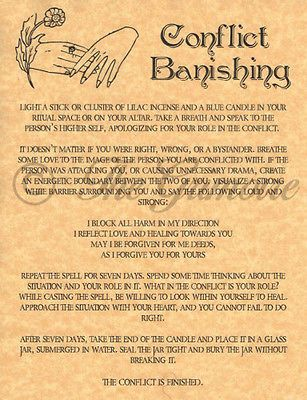 Conflict Banishing, Book of Shadows Spell Page, Wicca, Witchcraft, like Charmed