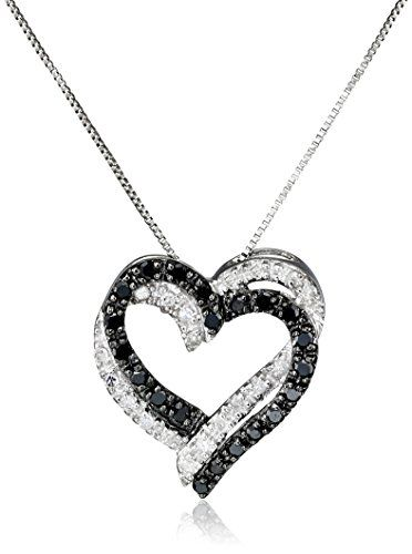 Intertwining hearts accented in black and white diamond stones deliver eye-catching sparkle on this heart-shaped pendant. The contrast between the diamond colors emphasizes their sparkle along the neckline.