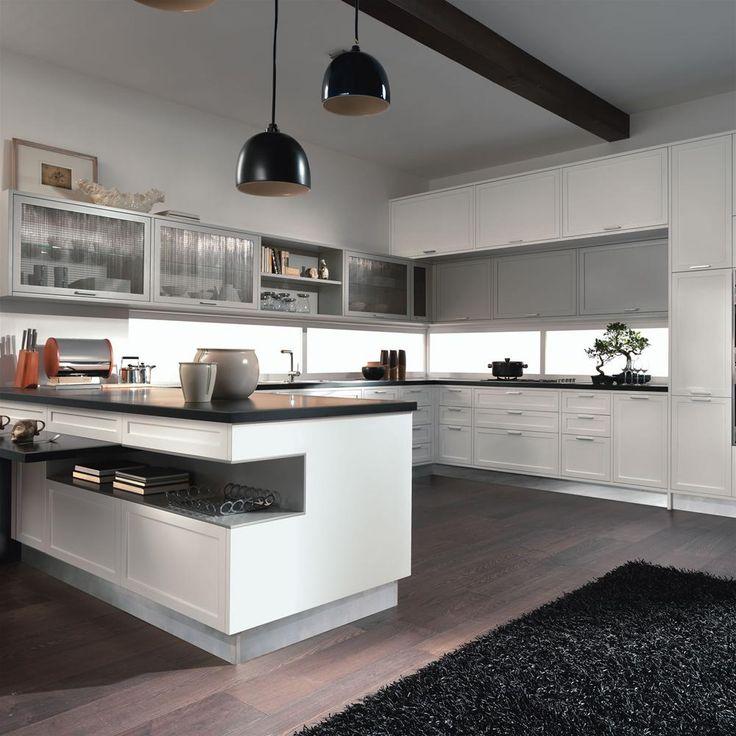 מטבח מודרני דלתות צביעה בתנור גוון מבריק לבן, מטבחי לוגת