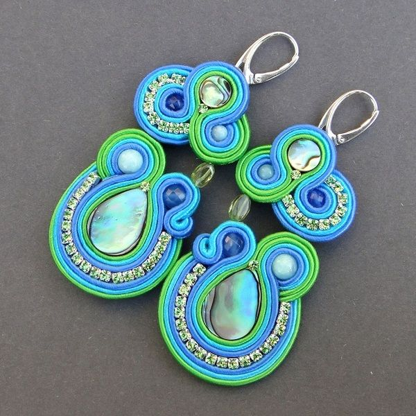 Galapagos paua shell earrings and amazonite from ~ Blue Butterfly ~ by DaWanda.com