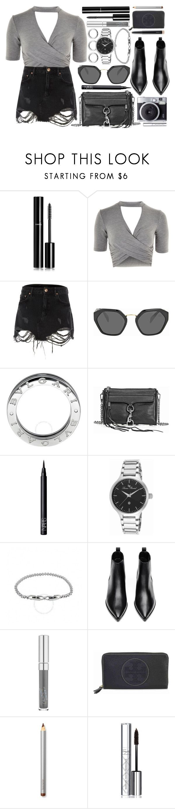 """""""Attitude"""" by jomashop ❤ liked on Polyvore featuring Chanel, Topshop, River Island, Prada, Bulgari, Rebecca Minkoff, NARS Cosmetics, Lucien Piccard, Acne Studios and Tory Burch"""