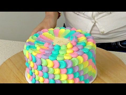 Rainbow Buttercream Petal Cake - CAKE STYLE - YouTube