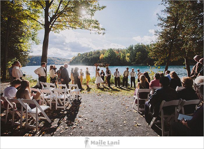 Outdoor Wedding Lake Front Ceremony Green Lakes State Park Fayetteville Ny