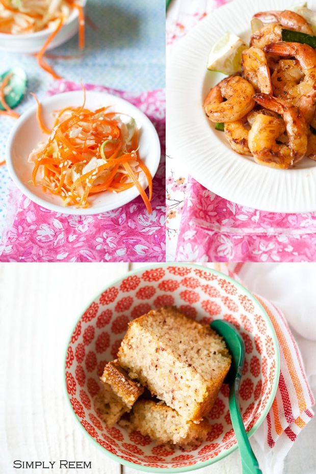 Honey Shrimps, Asian Cole-slaw and Cake