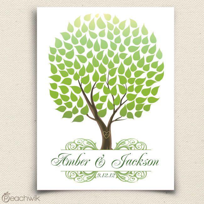 Unique Summer Wedding Guest Book - The Seaswik - A Peachwik Interactive Art Print - 125 guests - Summer Wedding Tree. $48.00, via Etsy.