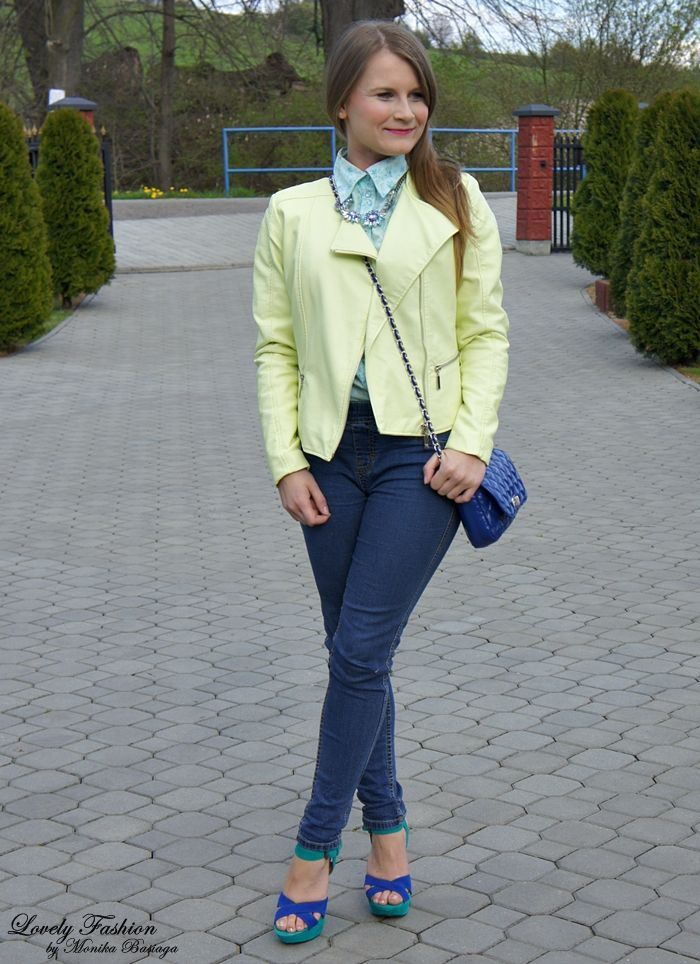 spring, colourful, pastel outfit / wiosenna, kolorowa, pastelowa stylizacja; koszula / shirt - C&A (second hand) jegginsy / jeggings - Next (second hand) kurtka / jacket - Top Secret (SS'14; won / wygrana:) buty / shoes - Market Chiński torebka / bag - Dorothy Perkins (second hand) naszyjnik / necklace - Lefties (second hand) kolczyki / earrings - NN (gift from my mum / prezent od mamy:)