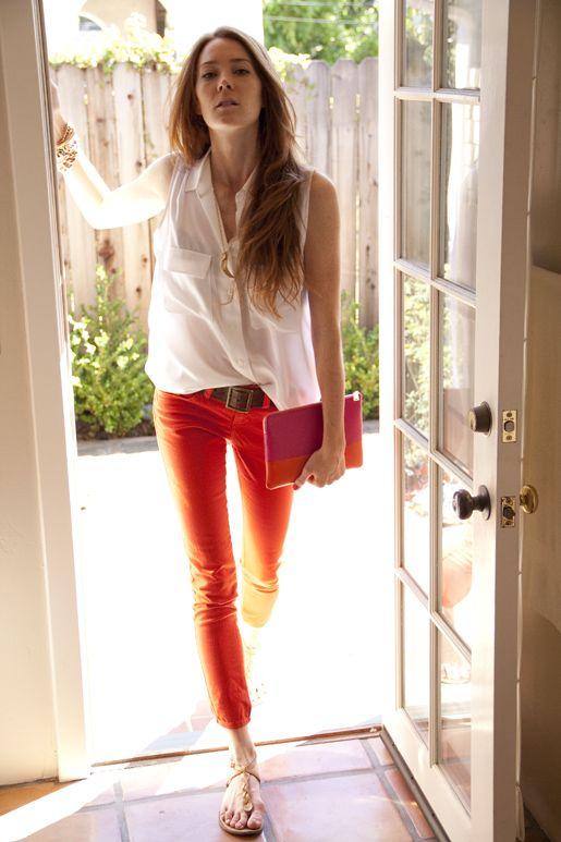 white top + tangerine pants: Orange Jeans, Red Skinny Jeans, Color Denim, Red Jeans, Colour Jeans, Orange Pants, Color Pants, Skinny Pants, Bright Pants