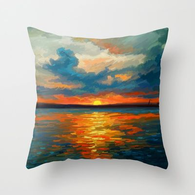 Sunset Impression Throw Pillow by Remus Brailoiu - $20.00