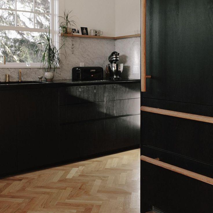 Carrara Marble Kitchen Benchtops: My Kitchen Remodel. Ebonized Ash Cabinetry. Honed Absolute Black Granite Countertop. Carrara