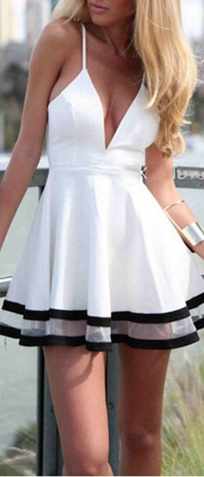 Sexy homecoming dress! White Deep V Neck Spaghetti Strap Pleated Ruffle Short Skater Mini Dress // More at http://www.cutedresses.co/product/sexy-deep-v-neck-spaghetti-strap-pleated-ruffle-short-skater-mini-dress/