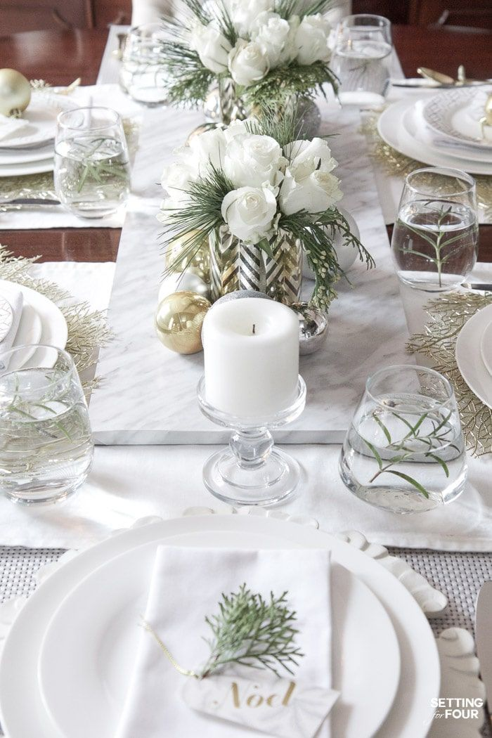 Elegant Gold And White Christmas Tablescape Christmas Table Centerpieces Christmas Table Settings Elegant Diy Christmas Table