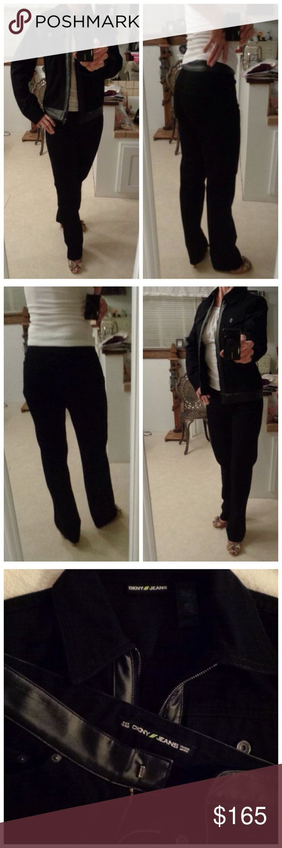 VINTAGE 2pc Black Denim Jacket/Jeans DKNY  Size 4 Found this set at a SaLe. Size 4 Donna Karen 2pc. Set. Black Cotton Denim with Faux Leather trim. Definitely Vintage. Absolutely- Like New Condition... I am not sure if it has ever been worn. Will list measurements when I return home from vacation. Thank you for browsing my closet. DKNY Jeans Straight Leg