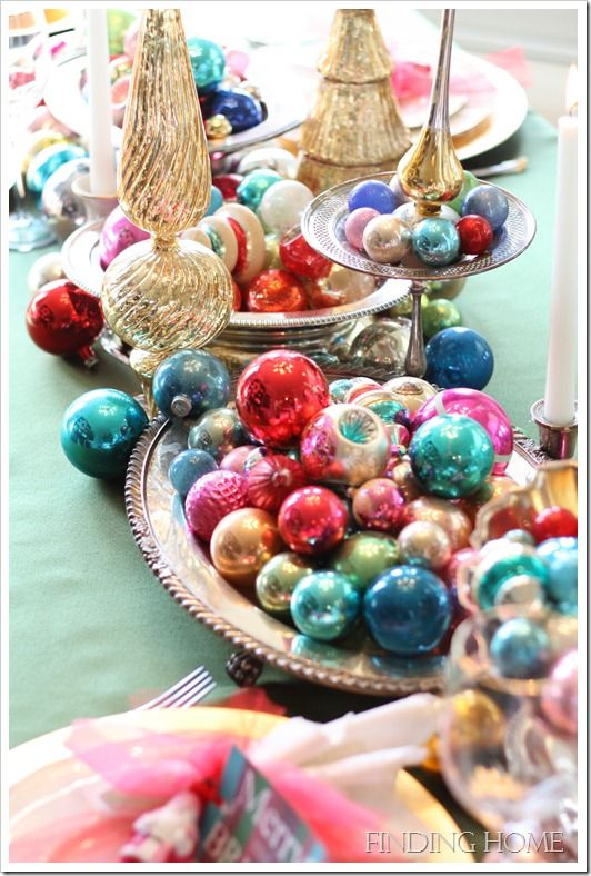 Christmas tablescape: vintage glass! Give me a bowl of baubles any day!