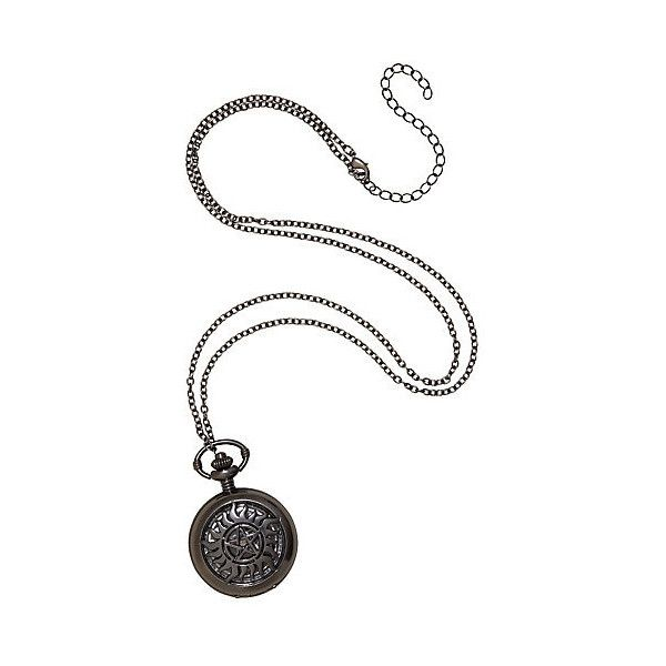 Supernatural Anti-Possession Pocket Watch Necklace ($20) ❤ liked on Polyvore featuring jewelry and necklaces