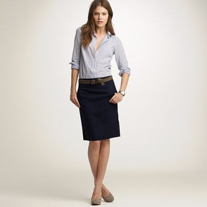 One great skirt is a must have.     I personally love a great pencil skirt - wear it casually (as pictured) or with a shirt and blazer for work.     A pencil skirt doesn't suit everyone so get the style that suits your body.     A medium length hem is the most versatile though!