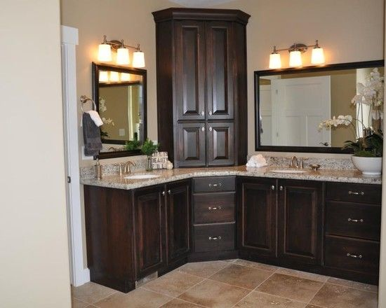 Master bathroom vanity with corner cabinet upper and for Bathroom double vanity designs
