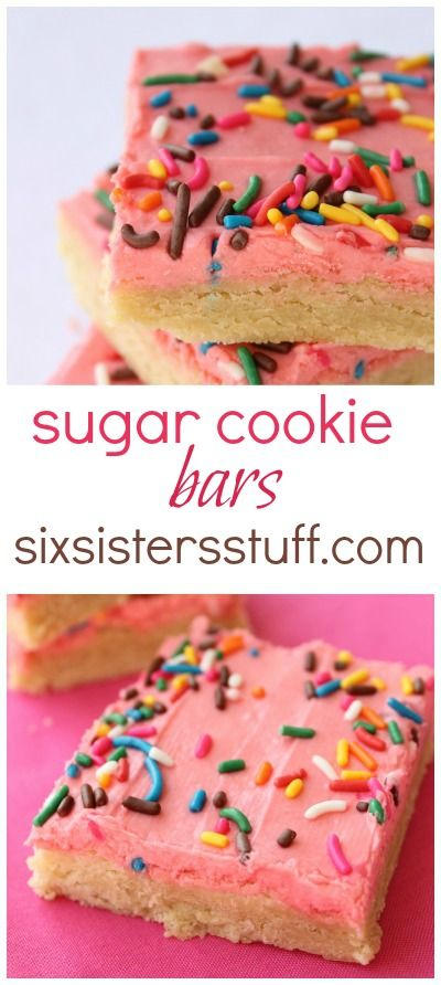 Frosted Sugar Cookie Bars on SixSistersStuff.com