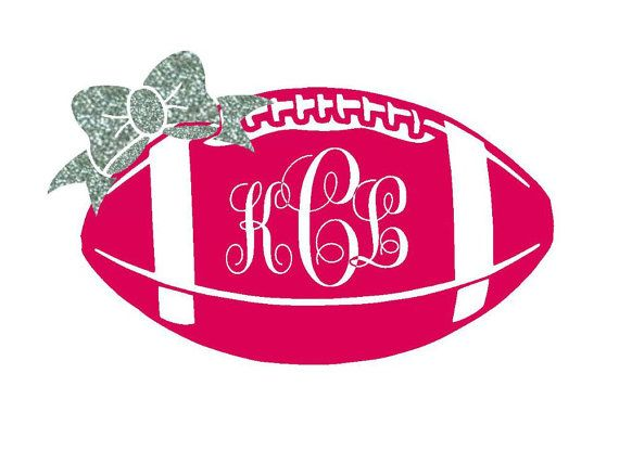 Monogram Footbal Iron On Glitter Bow Iron on by MonogrammedMommies