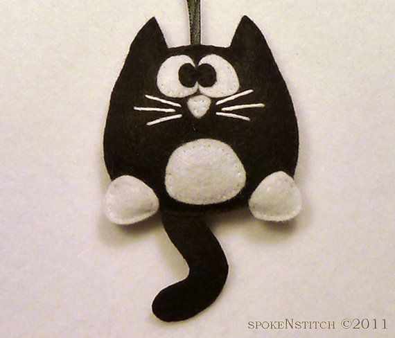Tuxedo Cat Felt Christmas Ornament  Licorice the by SpokenStitch, $11.00