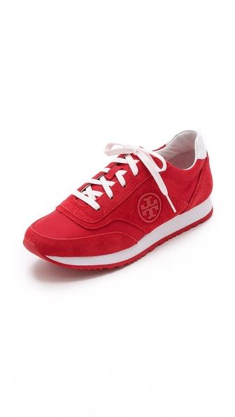 Tory Burch Rubber Logo Suede Trainer Sneakers