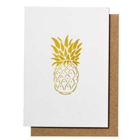 Pineapple Gold Foil Greeting Card