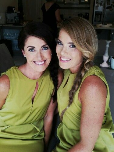 Bridesmaids, olive green, braids, flawless make up and hairstyling by Ashlea Dyson Styling