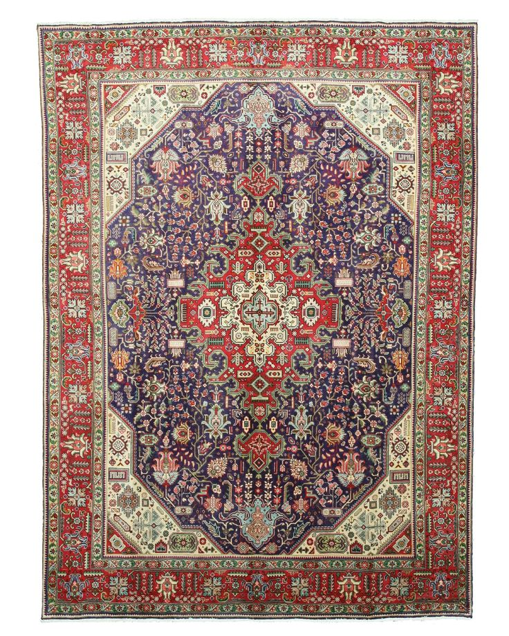 Hand Knotted Wool Navy Traditional Oriental Tabriz Rug 8 X 11 2