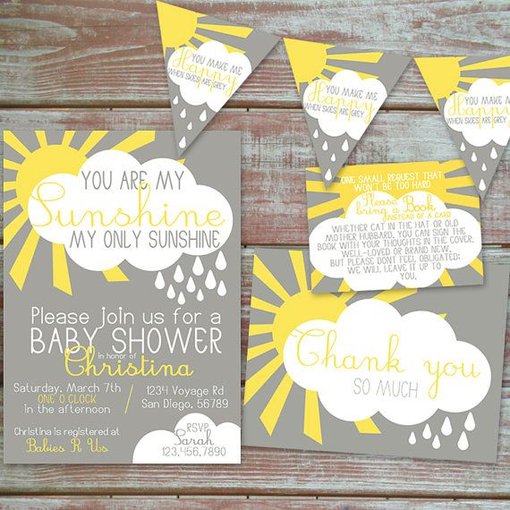 Delightful You Are My Sunshine Baby Shower Invitation Set