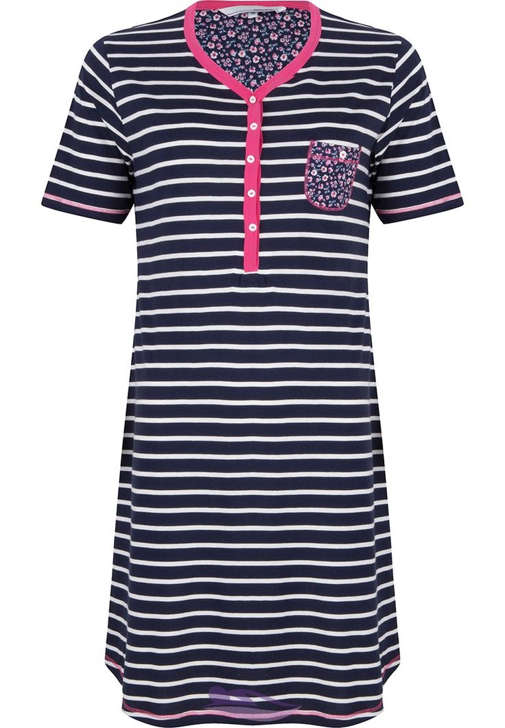 Pastunette 'white stripes & pretty little spring flowers' cotton nightdress with buttons