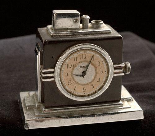 Vintage RONSON Deco Clock Cigar Lighter