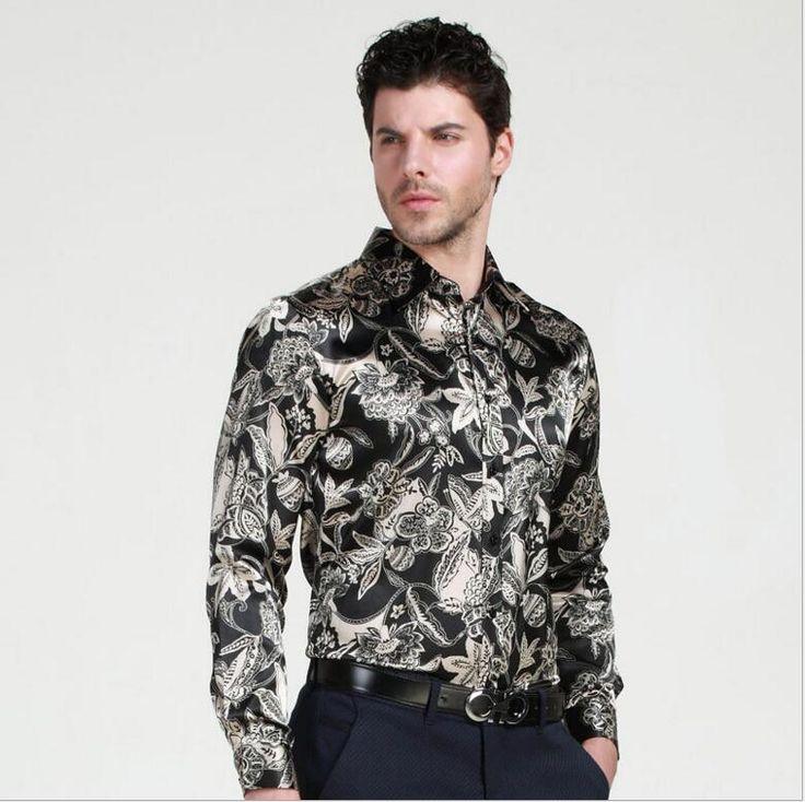 >> Click to Buy << Free shipping plus-size long sleeve men Silk shirts 2017man Casual shirts spring men shirts silk printing turndown collar shirt #Affiliate