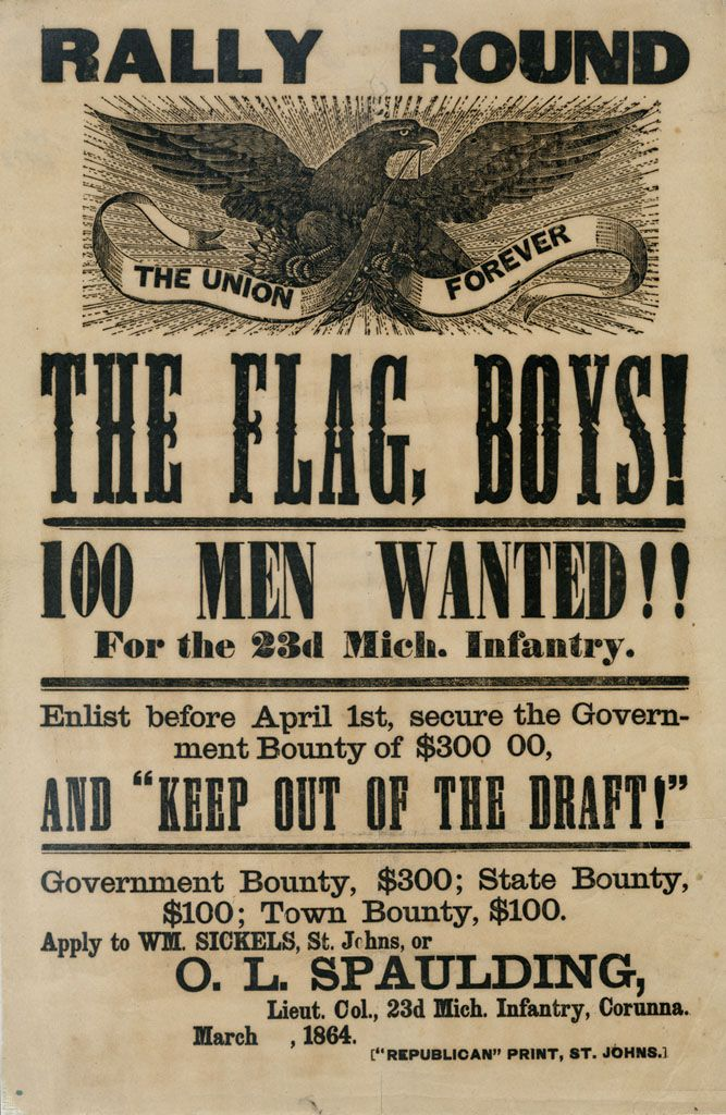 war posters   rally round the flag this recruiting poster of the 23rd mi infantry ...