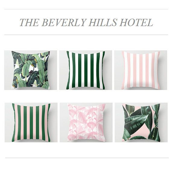 Beverly Hills Hotel inspired throw pillows by KateLewisInk on Etsy