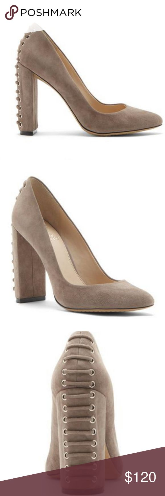 "Dallan Leave them speechless as you turn on your heel. Grommet-woven lacing climbs the back of the contemporary Dallan. This wardrobe superhero can take on the same roles as your minimalist suede heels but the vampy flourish gives them a bold style note.  This style is a stone taupe color.  Heel height approx 4"" Vince Camuto Shoes Heels"