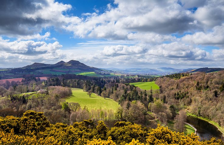 The view from Scott's View in the ScottishBorders near Melrose looking towards the Eildon Hills.