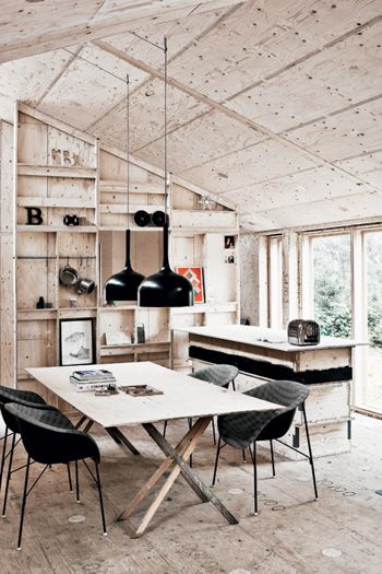 Ply work space would look good with splashes of paint when using as a studio. Montage: 57 Interiors with Plywood - StyleCarrot