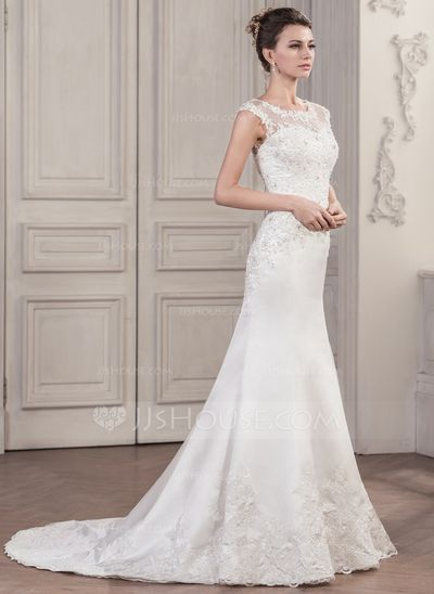 Trumpet/Mermaid Scoop Neck Chapel Train Satin Tulle Wedding Dress With Beading Appliques Lace Sequins (002058803)