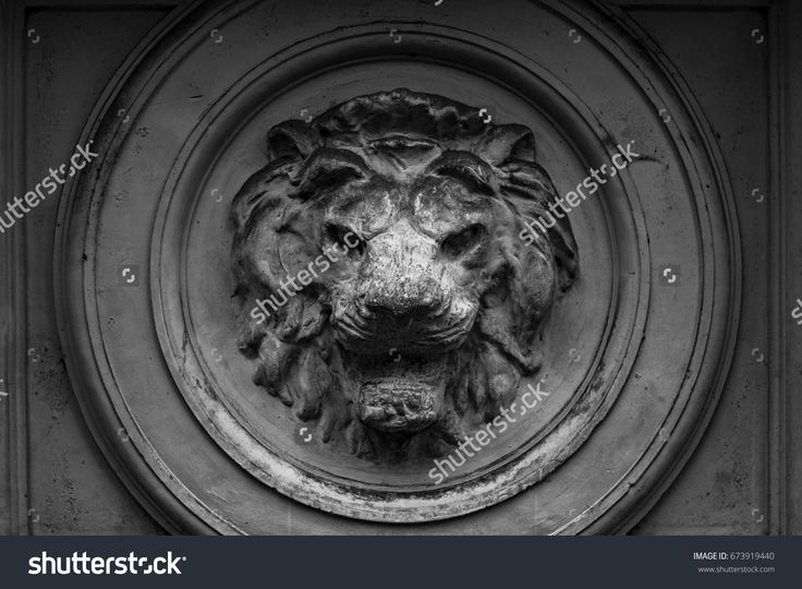 Decorative element, Lion head marble.