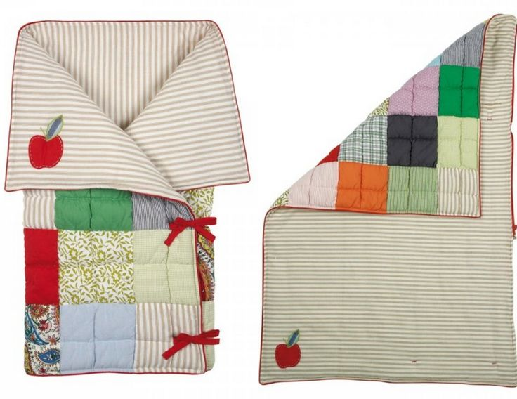 DIY All In One Sleeping Bag/ Baby Mat--Can I recreate this? Skinny quilt with separating zipper and ribbon ties.