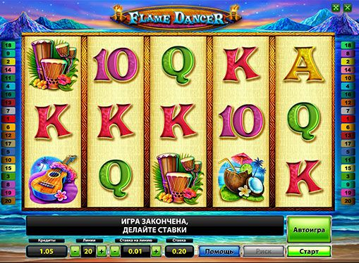 Specification of online gaming machine Flame Dancer. Flame Dancer - colorful gambling machine from the Novomatic company. The feature of this the slot is marks Wild, who can fill a whole drum, significantly increasing the chances of winning. Thanks to this online Machine with Fire Dancer profitable to play for real money, so it is often preferred by