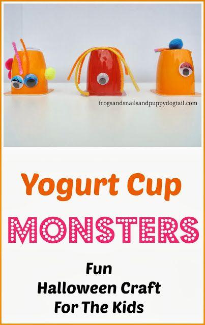 Yogurt Cup Monsters- Fun Halloween Craft/Art For Kids
