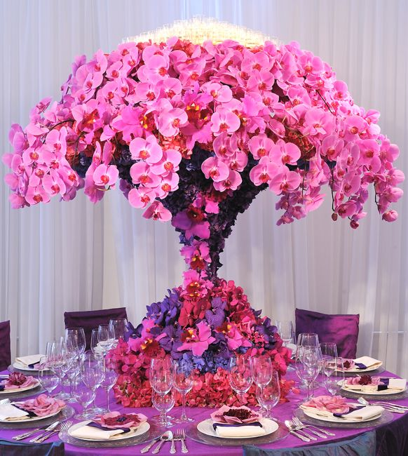 Preston Bailey Event Ideas, Tall pink and purple orchid Centerpiece