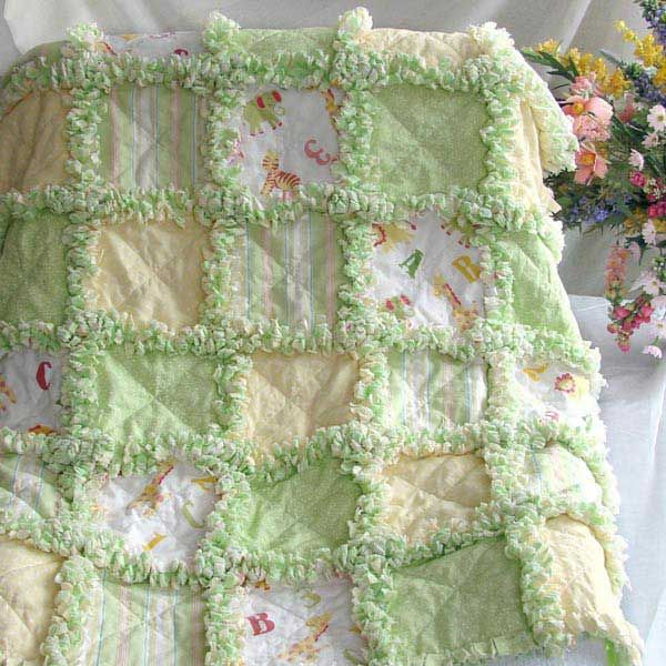 Baby Rag Quilt gender neutral ABC's animals