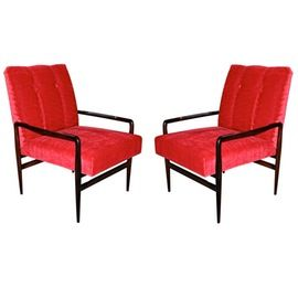 Pair Of 1960s Brazilian Jacaranda Armchairs  MidCentury Modern, Upholstery  Fabric, Wood, Armchair by Adesso Eclectic Imports