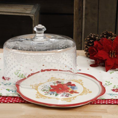 The Pioneer Woman Winter Bouquet 10.4-Inch Cake Plate With Glass Dome